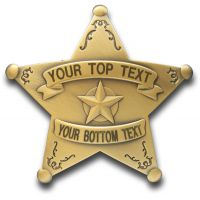 Custom 5 Point Bronze Star Badge with Filigree