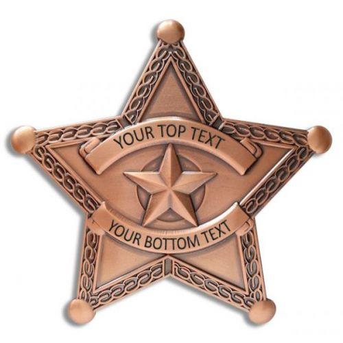 Custom 5 Point Copper Star Badge with border -  - PH3073C