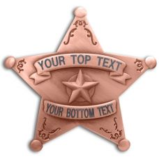 Custom 5 Point Copper Star Badge with Filigree