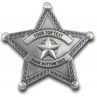 Custom 5 Point Sheriff Silver Sheriff Badge with border