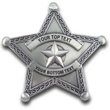 Custom 5 Point Sheriff Silver Star Badge with border