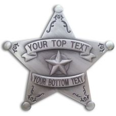 Custom 5 Point Silver Star Badge with Filigree