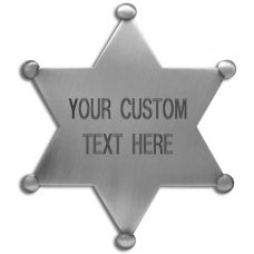 Custom 6 Point Star Badge with Text Engraving