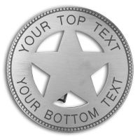Custom Round 5 Point Silver Star Badge