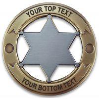 Custom Round 6 Point Gold & Silver Star Badge