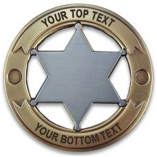 Custom Round 6 Point Gold & Silver Star Badge