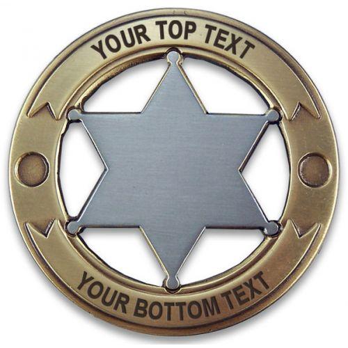 Custom Round 6 Point Gold & Silver Star Badge -  - PH3054C