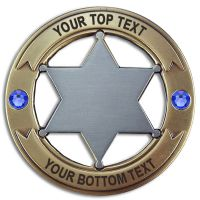 Custom Round 6 Point Gold & Silver Star with Crystals Badge