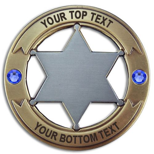 Custom Round 6 Point Gold & Silver Star with Crystals Badge -  - PH3054R