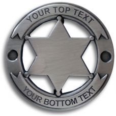Custom Round 6 Point Silver Star Badge