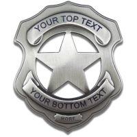 Custom Shield 5 Point Sheriffs Badge - Engraved w/ Pinback