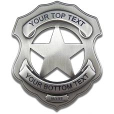 Custom Shield 5 Point Star - Sheriffs Badge - Engraved w/ Pinback