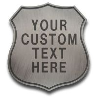 Custom Shield Badge with Text Engraving