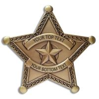 Custom Text 5 Point Bronze Star Badge with border