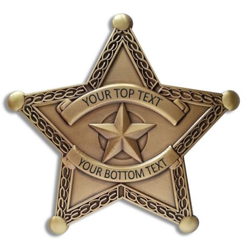 Custom Text 5 Point Bronze Star Badge with border -  - PH3072C