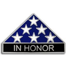 In Honor Folded Flag Pin Silver