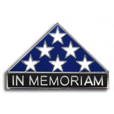 In Memoriam Folded Flag Pin Silver