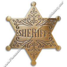 Sheriff Sheriff Filigree Antique Brass Badge